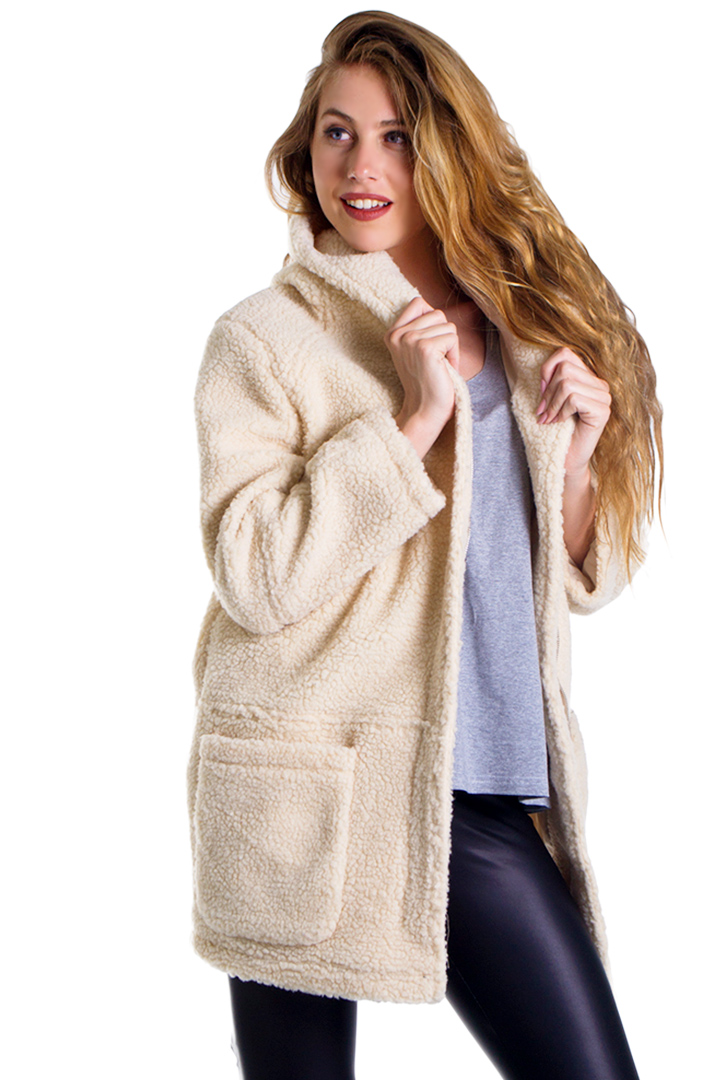 Fluffy jacket με κουκούλα greek store   ρουχα   πανωφορια   jackets   παλτό