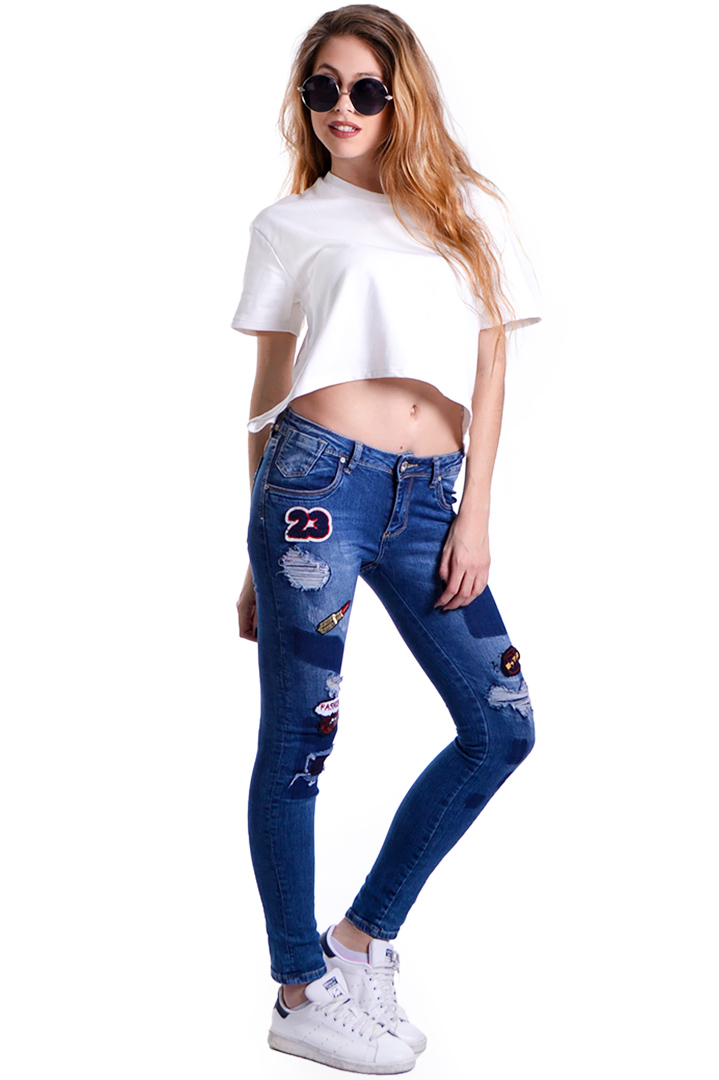 Skinny τζιν με διακοσμητικά patches greek store   ολα 5 7  greek store   ρουχα   jeans   jeans  greek store   ρουχα