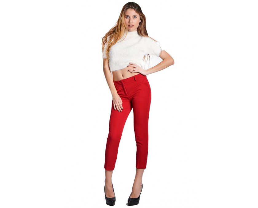 Limited edition red trousers with straight leg