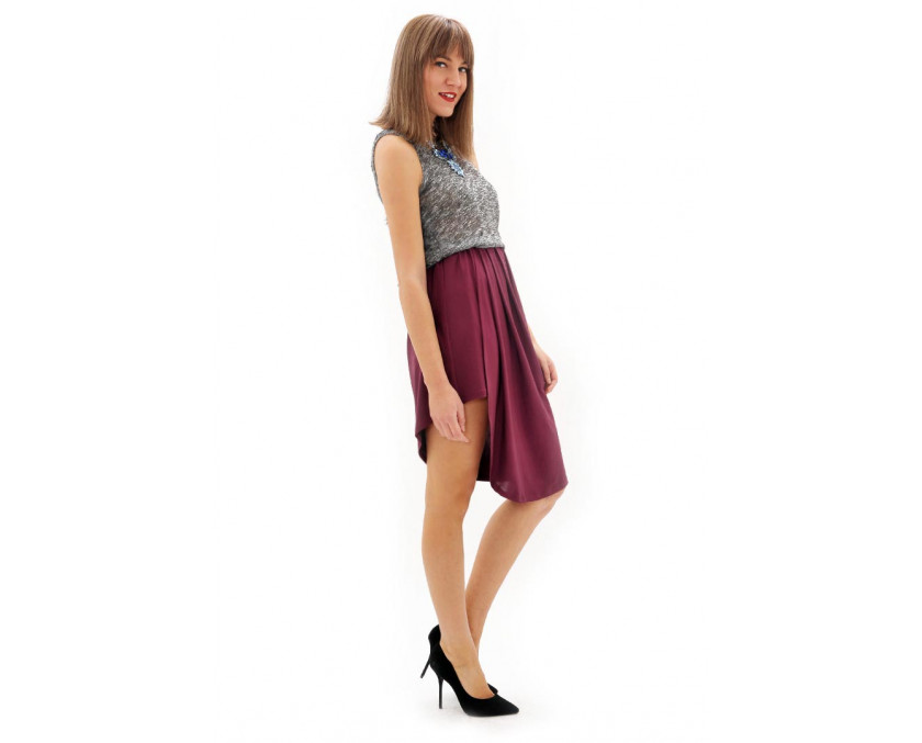 Limited edition high-low hem skirt in bordeaux