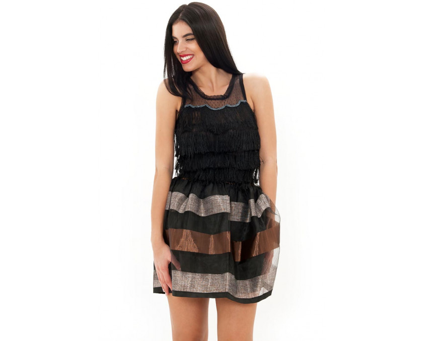 Black fringe top with sheer back