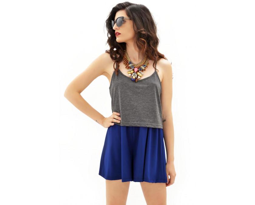 Blue culotte shorts in crepe