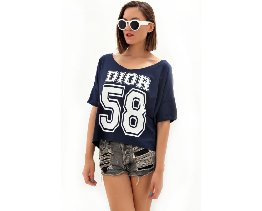 Blue Dior 58 tee with sheer back