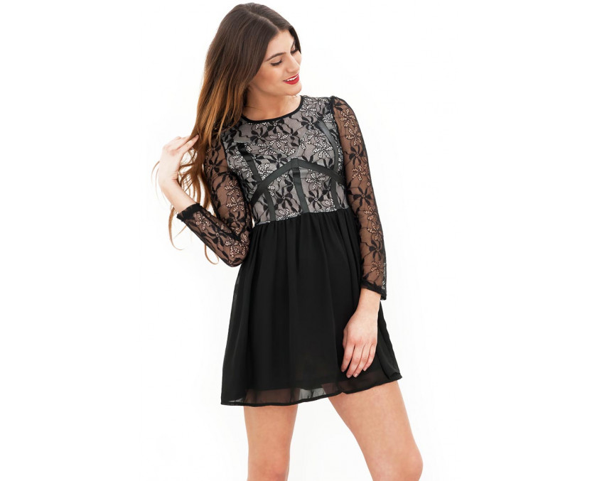 Cute lace dress with long sleeves