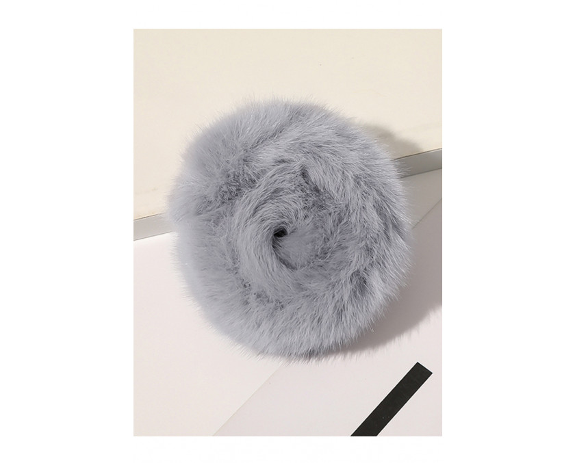 Γκρι Faux Fur Hair Tie
