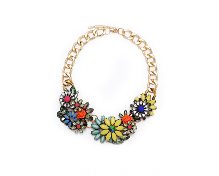 Flower Gemstone colored necklace