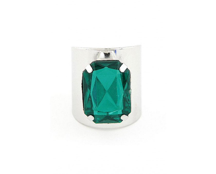 Green stone shank ring