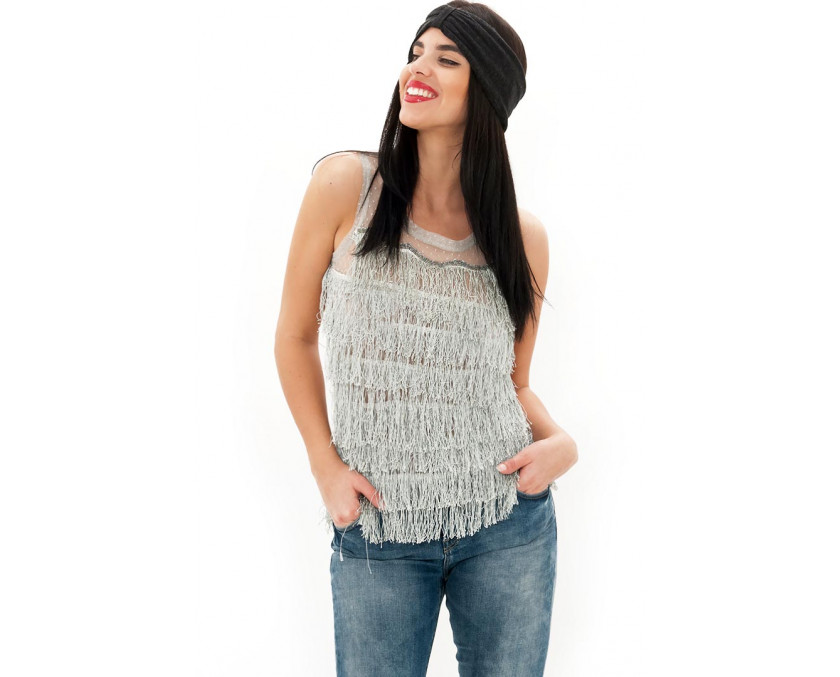 Grey fringe top with sheer back