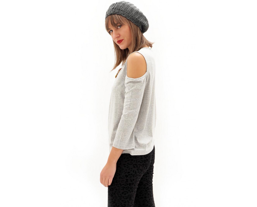 Grey top with open shoulder panels