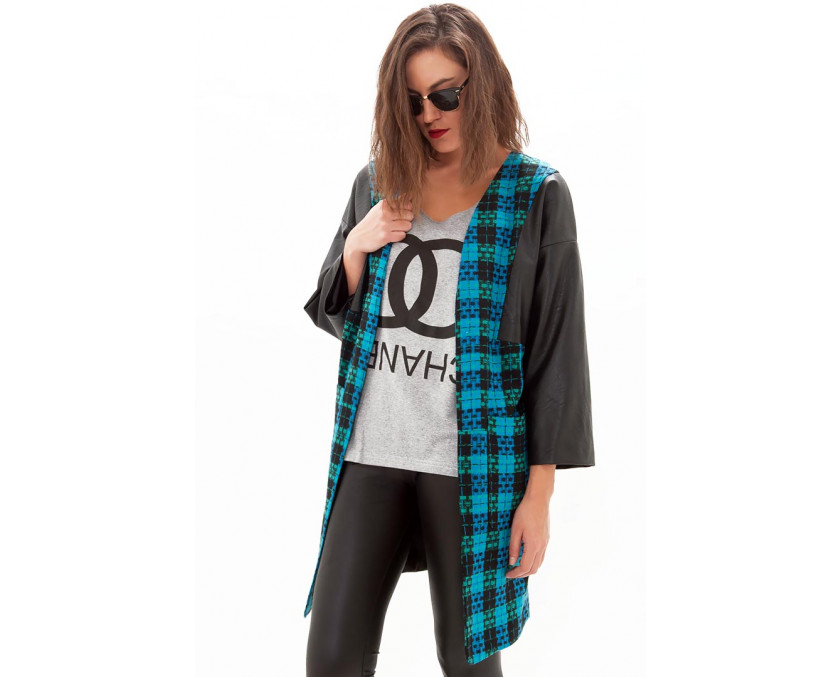 Limited edition check coat with leather sleeves