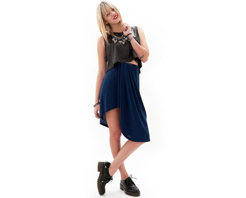Limited edition high-low hem skirt in blue