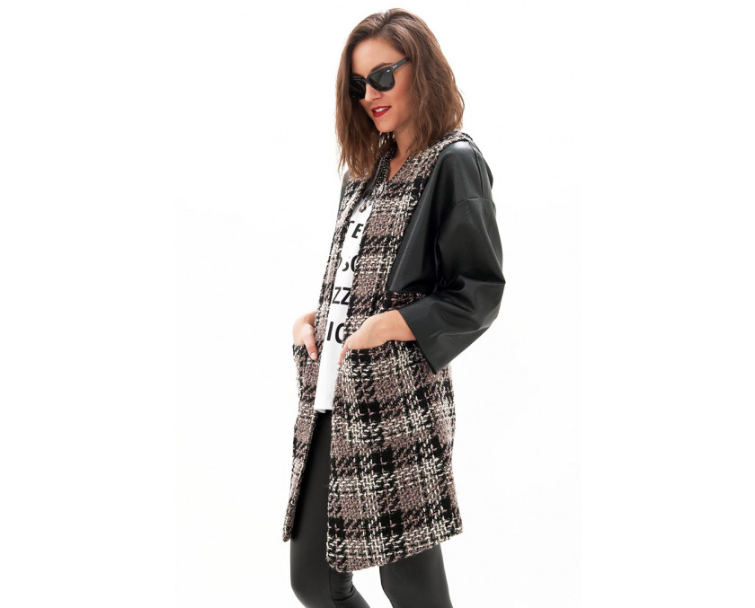 Limited edition tweed coat with leather sleeves