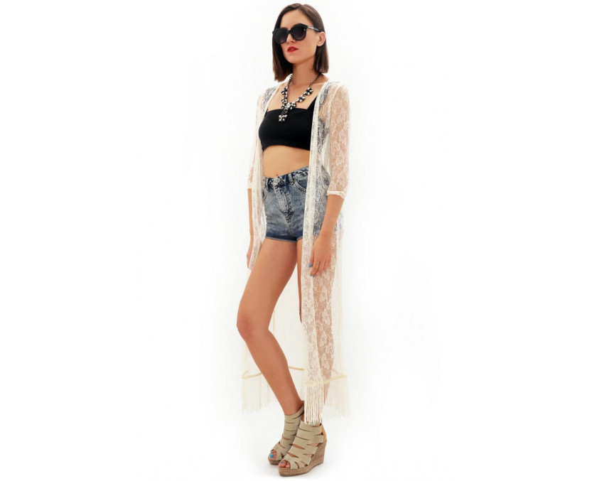 Maxi lace kimono with fringes in white