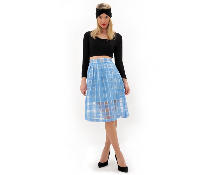 Midi blue sheer skirt