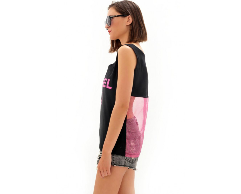Pink Chanel top with sheer back