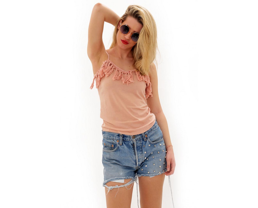pink top with fringes