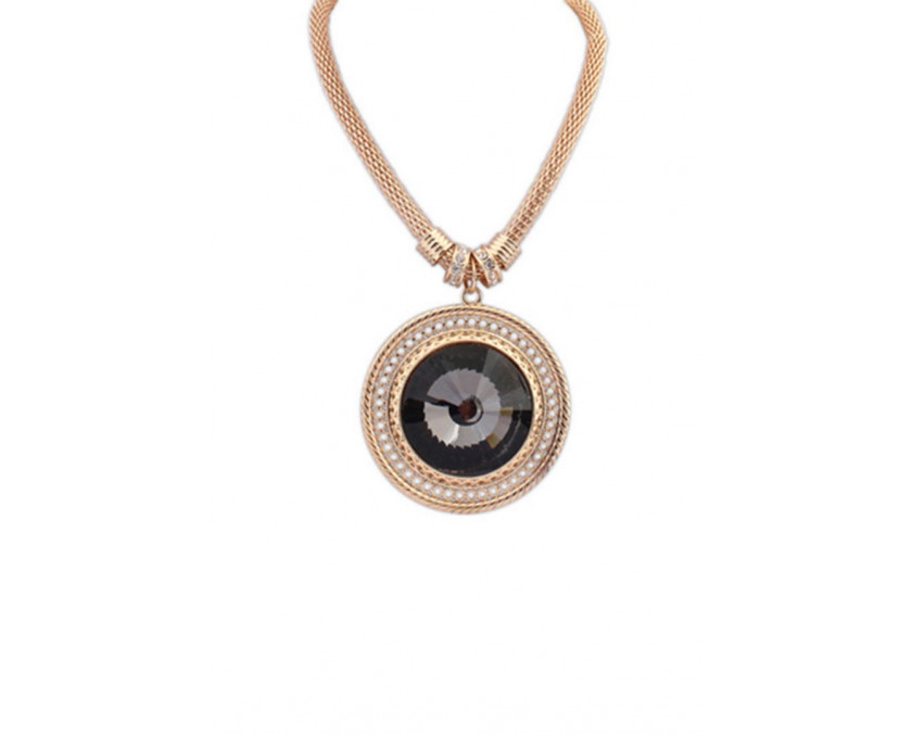 Premium crystal necklace in black