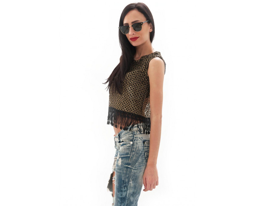 Premium gold net top with fringing
