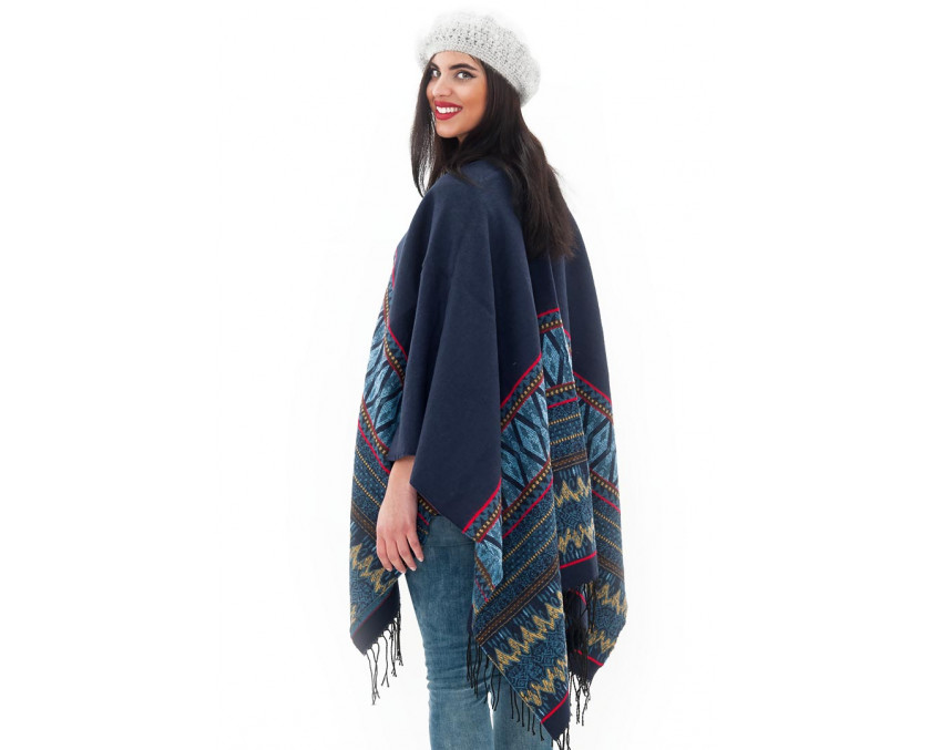 Premium poncho with fringing in blue