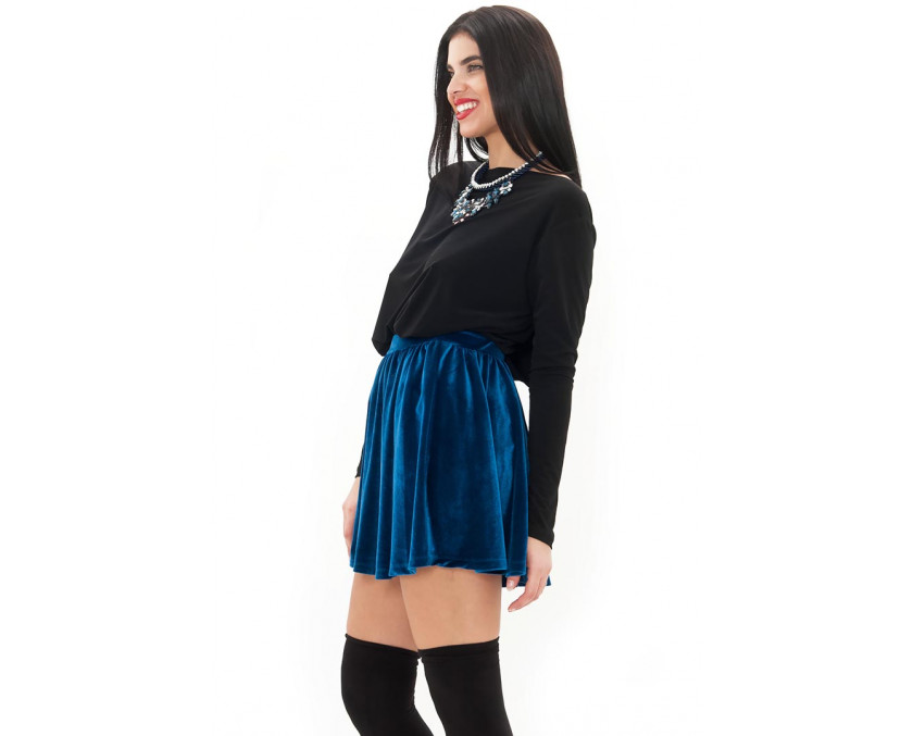 Premium velvet skirt in blue