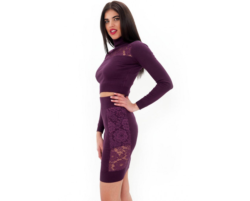 Purple mini skirt with lace panel