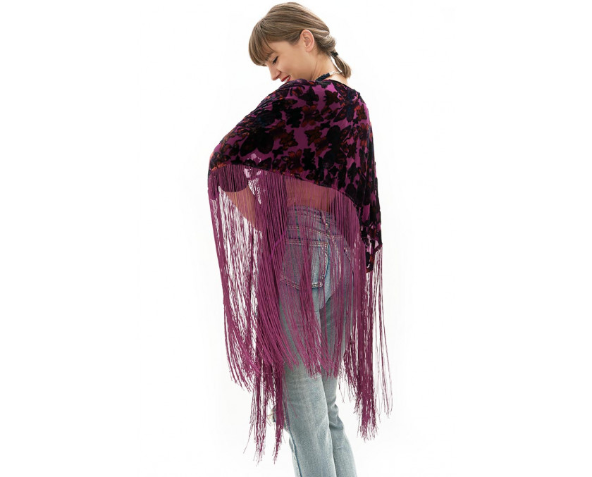 Purple velvet kimono with long fringes