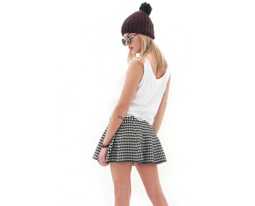 Skater skirt in pie de poule