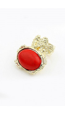 Oversize red stone ring