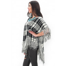 Fringing jumper poncho in check