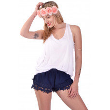 Μπλε flower lace shorts