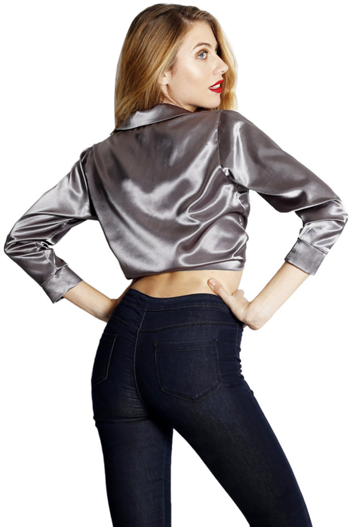 f816c9521b86 Glam doll grey satin blouse - e-outfit.com