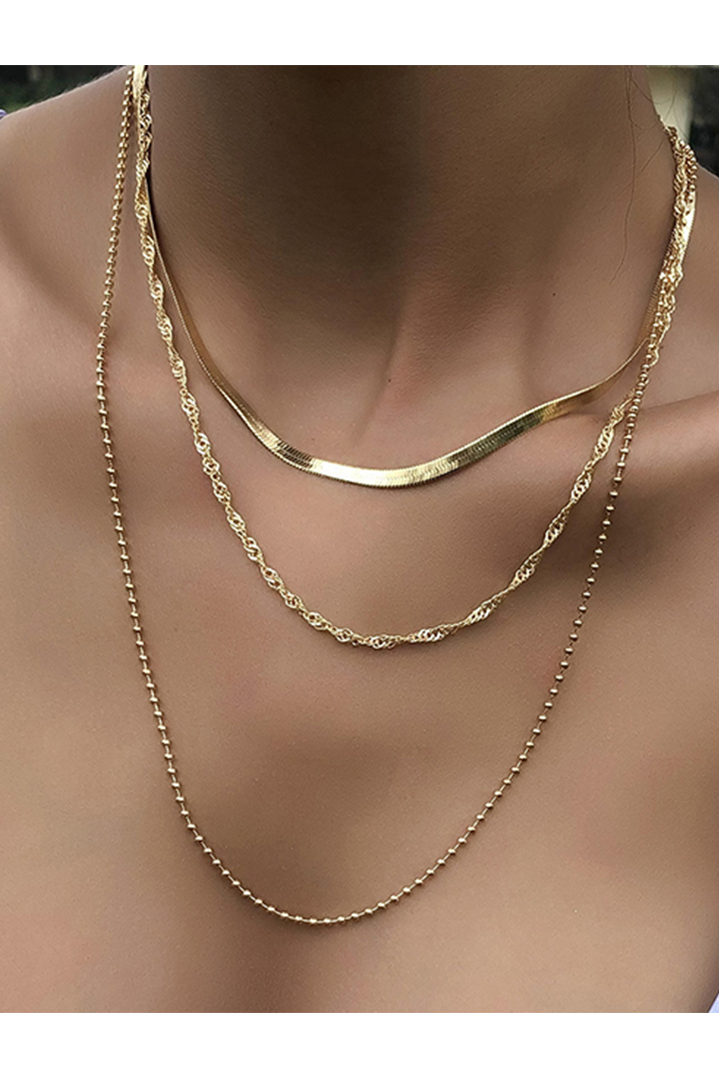 Gold twisted bead chain κολιέ