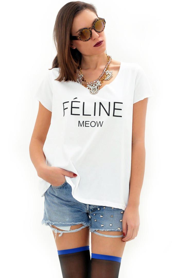 Feline Meow μπλουζάκι greek store   t shirts  greek store   ρουχα   tops   t shirts  greek store   ρου