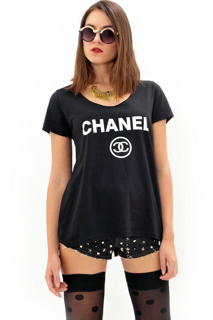 Chanel μαύρο μπλουζάκι greek store   t shirts  greek store   ρουχα   tops   t shirts  greek store   ρου