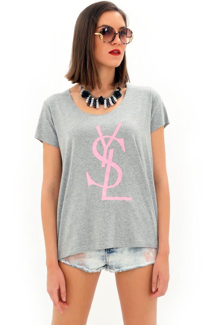Ροζ YSL μπλουζάκι greek store   t shirts  greek store   ρουχα   tops   t shirts  greek store   ρου
