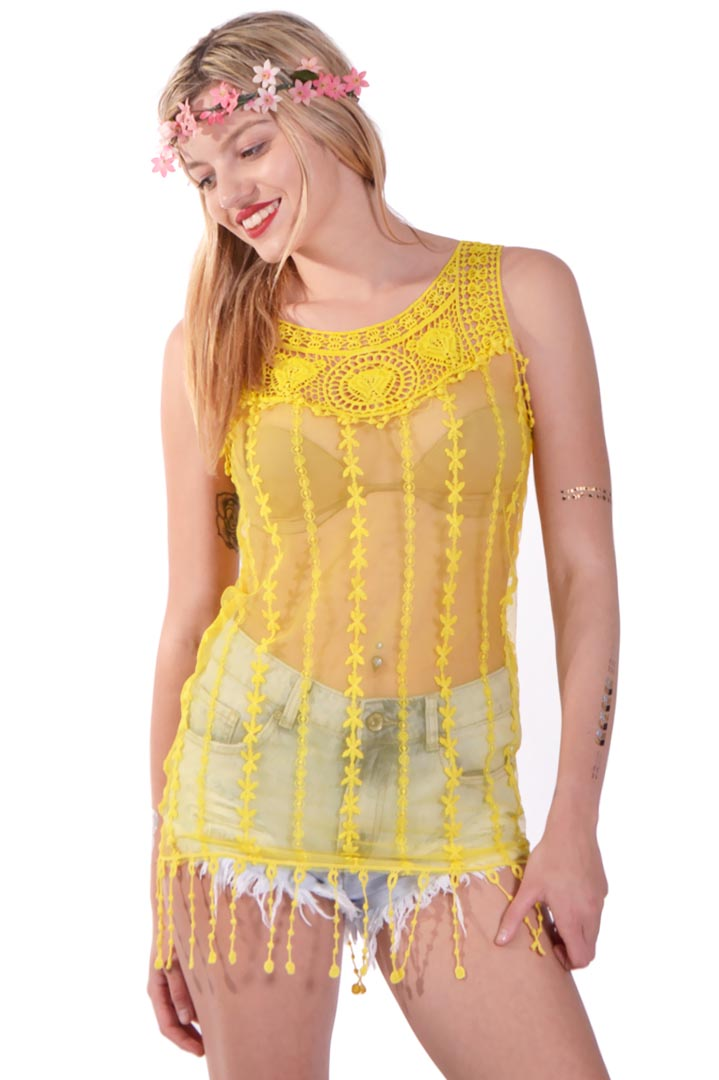 Lace fringing κίτρινο τοπ greek store   ρουχα   tops   μπλούζες  greek store   ρουχα   t shirts   αμάνικα